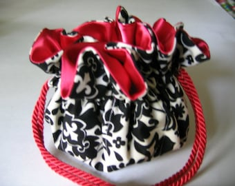 Jewelry Bag Jewelry Pouch Black White Damask Red Satin