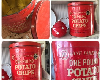 Jane Parker for A & P Stores - Large Vintage CHERRY RED Potato Chip Tin