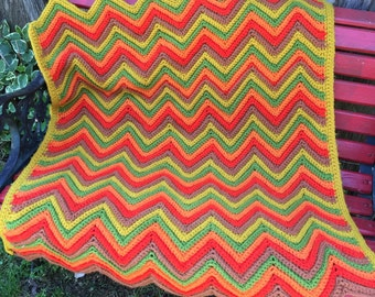 Vintage Hand Crochet Orange, Cheddar, and Green Chevron Afghan/Lap Throw