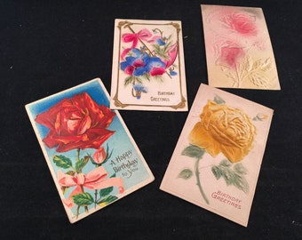 Set of 4 Antique/Vintage Early 1900's Happy Birthday Roses Postcards (Great Old Handwriting)