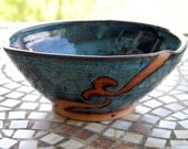 Serving Bowl in Slate Blue and Rust Waves - Made to Order