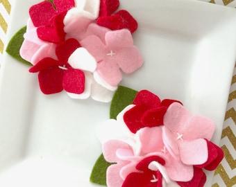 Wool Felt Flower Hydrangea Valentine, red white and pink hydrangea - wool felt hairbow - wool felt hydrangea - Set of Two