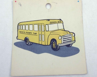Vintage Children's School Flash Card with Picture for School Bus in Color