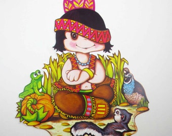 Vintage 1970s Cute Indian Boy Squirrel Frog Bird Pumpkin Die Cut Cardboard Thanksgiving Decoration by Beistle