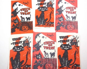Vintage Halloween Trick or Treat Candy of Party Favor Bags with Black Cat Haunted House Witch Jack o Lantern Set of 6