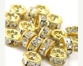 35% off Shop Closing Sale 6 Czech Crystal Rhinestone Rondells 4.5mm - Gold Crystal CZM020