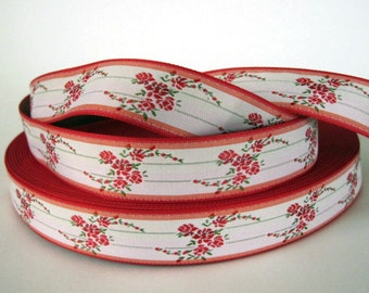 3 yards ROSE CLUSTERS Jacquard trim. Red, pink, sage green, on white. Red edges .  1 inch wide. 2023-A Bavarian dress trim