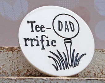 Personalized Silver Tee-rrific Golf Ball Marker, Personalised Golf Marker, Gift for Golf Lover, Father's Day, Golfing Gift for Dad