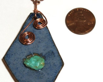 Hand Made Stoneware Pendant Necklace Blue Geometric Turquoise Nugget Copper Wire
