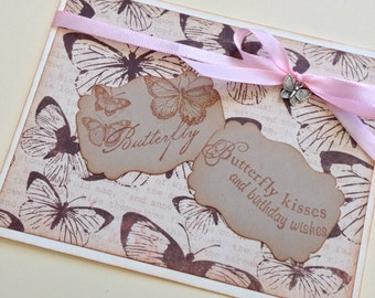 Birthday Wishes and Butterfly Kisses Happy Birthday Greeting Card