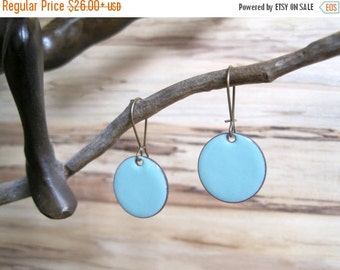 SALE Robins Egg Blue Drop Earrings, Bright Blue Earrings, Dangle Earrings, Copper Enamel Jewelry, Nickel Free Kidney Earwires