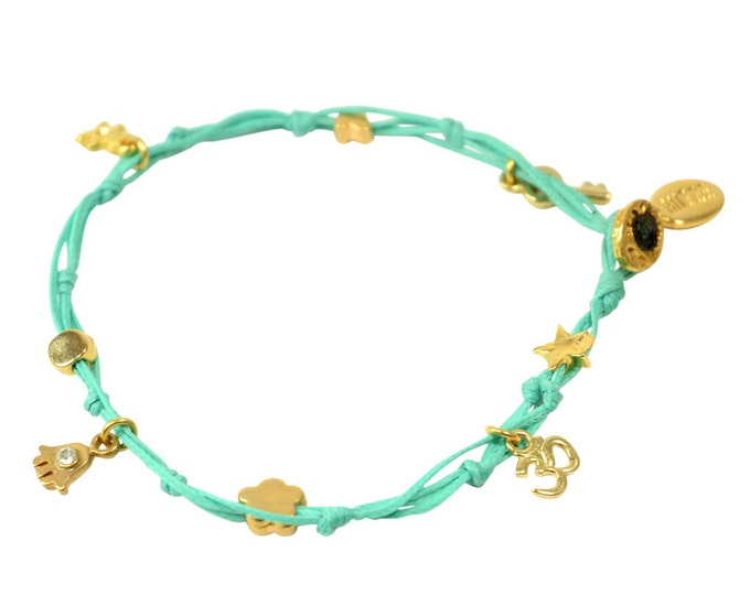 Turquoise Hamsa and Multiple Gold Plated Charms Anklet