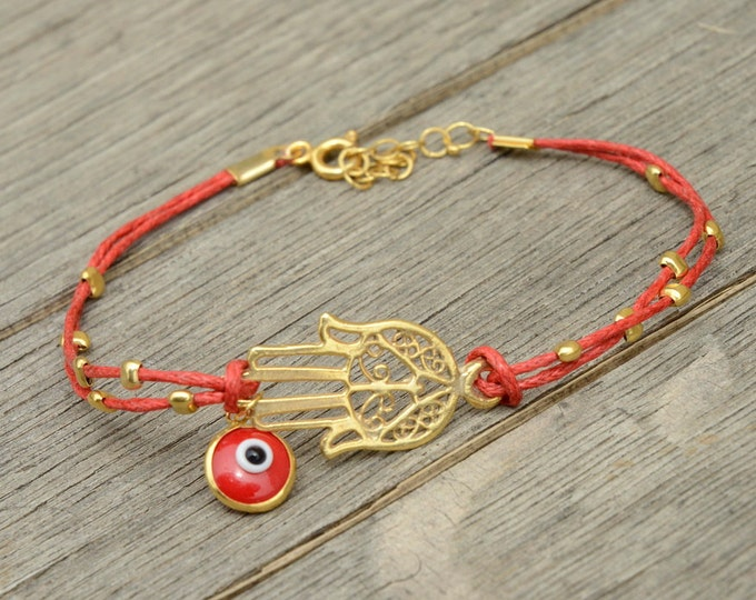 Red String Evil Eye Gold Plated Hamsa Bracelet