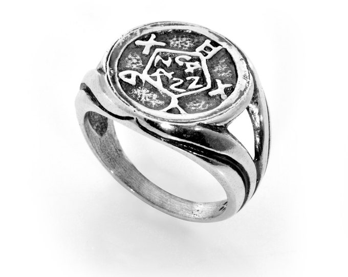 Safe Keeping & Safety King Solomon 925 Sterling Silver Amulet Ring - Choose Size!