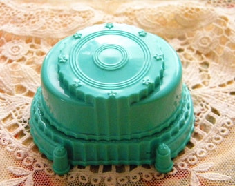 Vintage Ring Box Wedding Cake Style Turquoise Blue Ring Holder with Velvet Interior