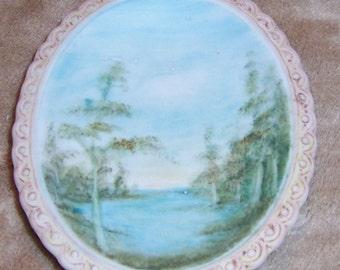 Vintage, 1970's, Hand Painted, Bisque China, Lake, Trees, Scene, Nature, 4.5 L x 3.5 W, Jewelry Dish, Trinket Dish, Dresser Dish,