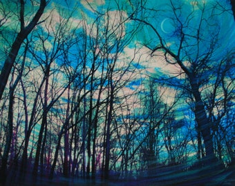 Already stayed too long, 16x20 inches, Blue moon art, winter trees, blue trees, #moon #wall art #art #original art #Gina Signore