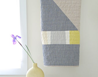 "Modern Quilt  ""June 7""  crib quilt / pet blanket in cotton + linen + denim"