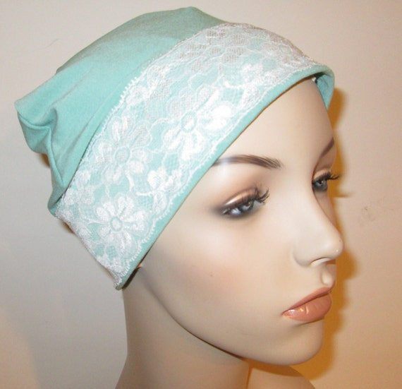 MintGreen Sleep Cap with White Lace Trim, Cancer Hat, Hair Loss, Lounge Cap, Chemo Hat