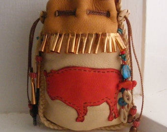 BISON Medicine Bag, deerskin leather, Bison hair and bone, Shaman talisman, spirit guide, wicca, NATIVE AMERICAN style pouch