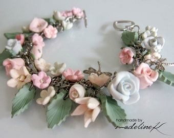 Enchanted Garden Flower Bracelet, Handmade Polymer Clay Flower Charm Bracelet, Wedding Jewelry, Bridal Flower Bracelet, Flower Girl Bracelet