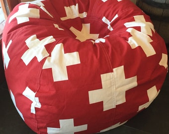You fill - Ski Patrol or Swiss army Flag Bean Bag pillow chair for cool lodge cabin decor Cover and Liner but WITHOUT FILL