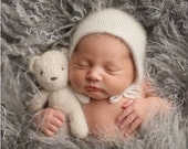 Hand knit mini fluffy cream bear , newborn photography prop