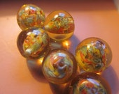 Vintage Glass Beads (4) Large Handmade Japanese Millefiori Pale Translucent Yellow Beads