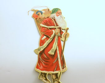 Vintage Die Cut Santa Christmas Ornament St Nick