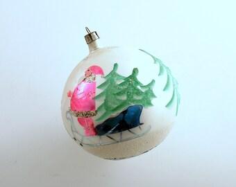 Vintage Christmas Large Glass Ornament Santa Reindeer Poland