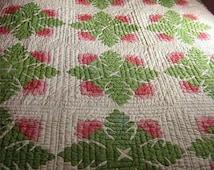 Antique quilt post Civil War era C 1870 Cockscomb red green appliqué