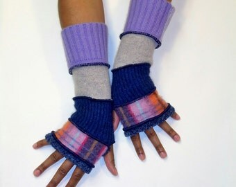 Fingerless Gloves, Arm Warmers,Plaid Patchwork Gloves (Blue/Plaid/Navy/Light Grey/Patched Lilac and Lavender)