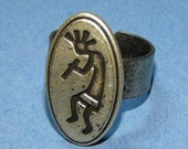 Kokopelli native style ring made from sewing button