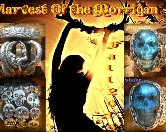 Morrigans Harvest Samhain festival day of the dead Labradorite Skull ring