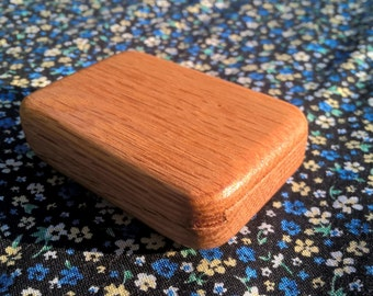 Small Oak Ring Box with Rounded Bottom