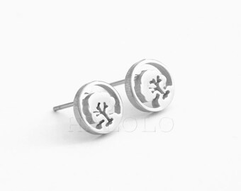 Round Tree Stainless Steel Earring Post Finding  (EE424)