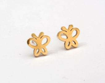 Buttertfly Golden Stainless Steel Earring Post Finding (EO105)