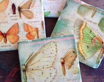 Breath of Spring  coasters - spring decor, butterflies, housewarming gift idea, gift for her, stone coasters, easter decor