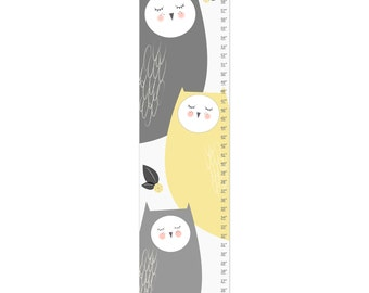 Growth Chart, Owl Growth Chart, Gray Owl Growth Chart, Custom Growth Chart, Custom Gray Growth Chart, Canvas Growth Chart
