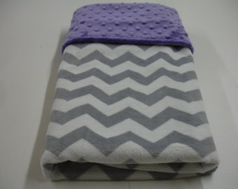 Gray Chevron with Dark Lavender Double Sided Minky Blanket 25 x 34 READY TO SHIP