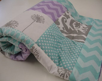 Wonderland Aqua Lavender Gray Minky Blanket You Choose Size and Minky Color MADE TO ORDER No Batting