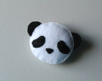 Panda Bear Felt Brooch Sad Panda Felt Pin Unique Handmade Black & White Felt Accessory Stuffed Animal Panda Plush Panda Softie Weird Brooch