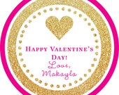Valentine's Gold Glitter Hot Pink Heart round sticker label / cupcake topper / thank you tags for birthday party, baby shower, PERSONALIZED