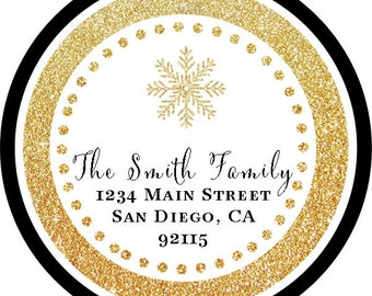 Christmas Gold Glitter Black Snowflake Holiday Address Labels / Stickers / Cupcake Toppers / Thank You Tags or stickers / various sizes