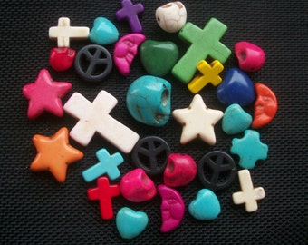 30 Assorted Synthetic Dyed Howlite Beads, Skulls, Crosses