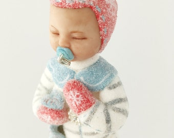 Snow Baby Boy Ornament with blanket. Baby's first Christmas gift pacifier doll blue gray red booties glitter snow babies sleeping baby
