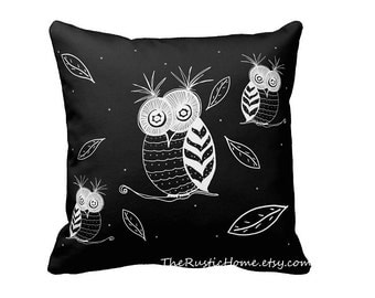 Owls and fireflies feathers toss pillow black and white grey custom printed both sides square pillow