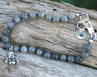 Labradorite Gemstone Knotted Silk Cord Buddha Sterling Silver Charm Bracelet, Blue Silk Knotted Bracelet, Gray and Blue, Buddha Bracelet