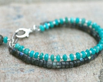 Labradorite and Russian Amazonite Gemstone Bracelet, Gray and Aqua Blue, Handmade Bracelet, Double Strand Bracelet