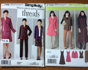 Simplicity 2288 2155 Lot of 2 Sewing Patterns Sizes 10-12-14-16-18 Work Wear Outfits Lots of Options blazer jacket dress vest pants
